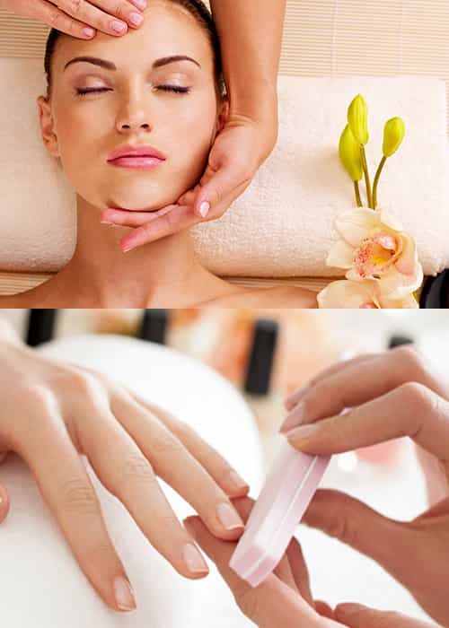 Manicure & Pedicure  with Head neck and shoulder 15mins or foot  Massage 20mins