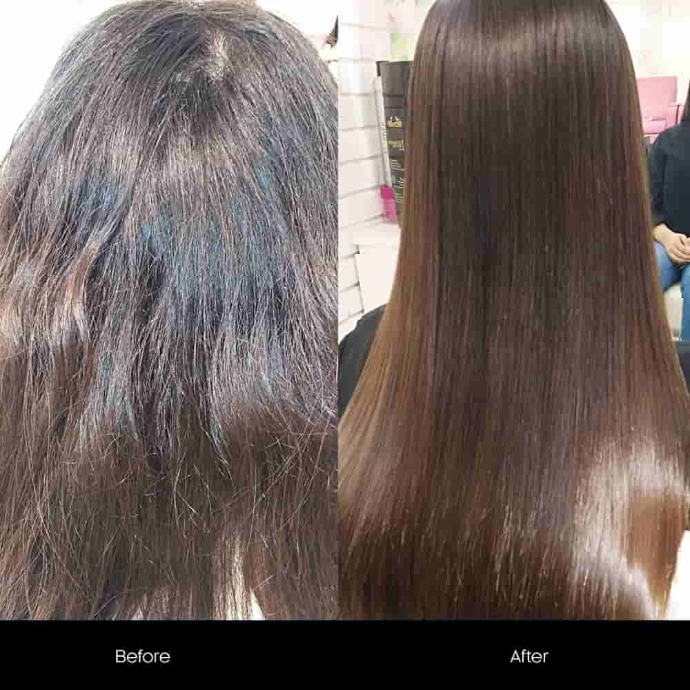 hair keratin treatment before after