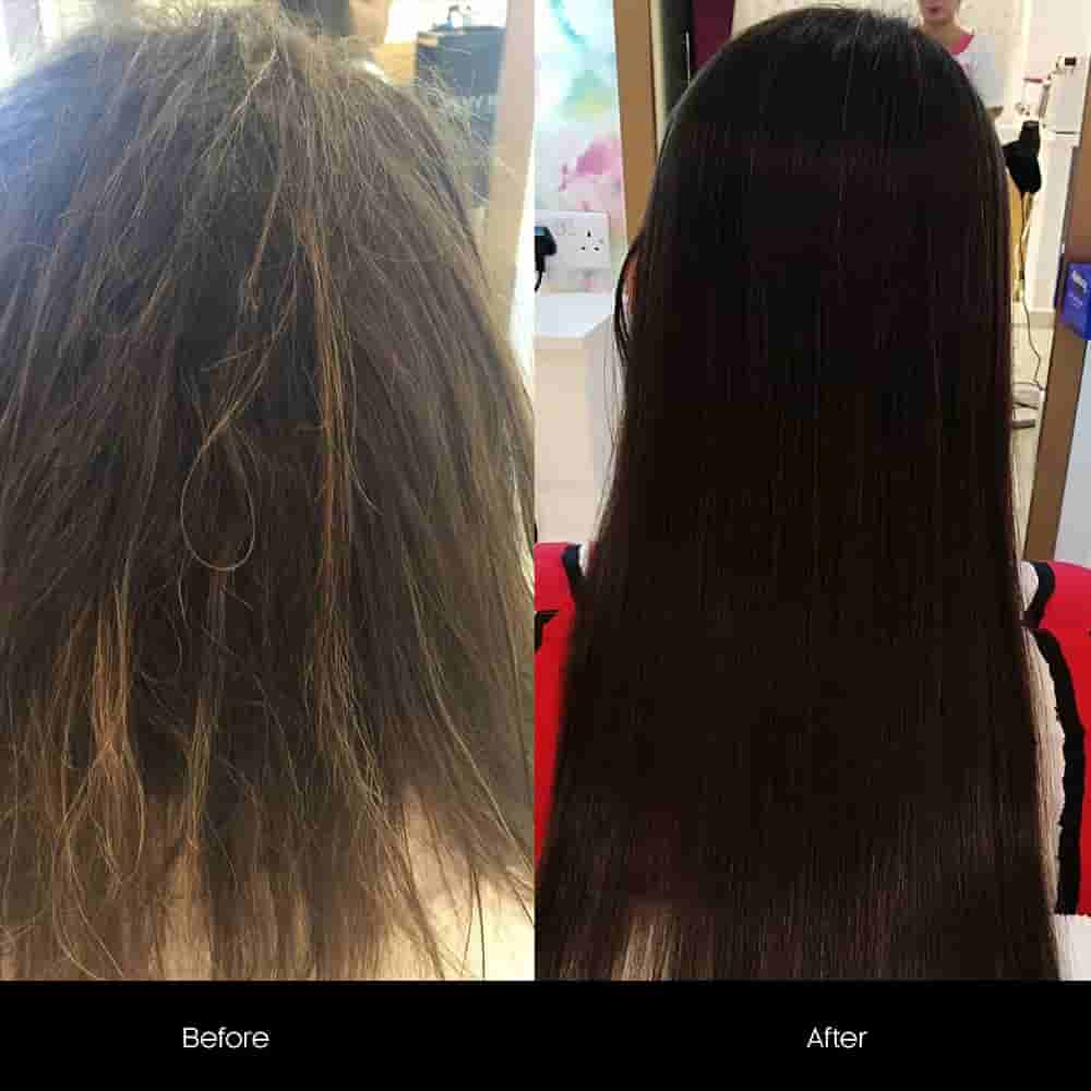 botox hair treatment before after
